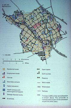 Land allocation chart of Milton Keynes. From the JR James Archive, University of Sheffield via Milton Keynes: Utopian Vision University Of Sheffield, Image Chart, Site Analysis, Land Use, Milton Keynes, Urban Planning, Plan Design, Thesis, Landing