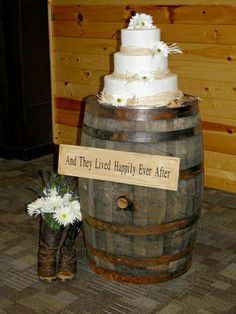 Cake on a barrel.