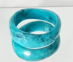 Excited to share this item from my #etsy shop: Vintage Turquoise And Black Bangle, Vintage Costume Bangle, Dress Bangle, Evening Bangle, Turquoise Hammered Bangle.