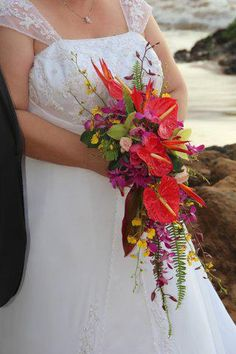 Awesome tropical bouquet with red anthuriums