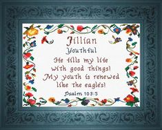 Jillian - Name Blessings Personalized Cross Stitch Design from Joyful Expressions