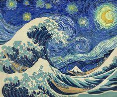 Van Gogh - Starry Night Wave Collage (Artist Interpretation)