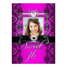 Sweet 16 Sweet Sixteen Pink Black Lace Photo from Zizzago.com