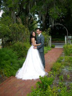 Bride and groom at @Harpreet Khurana Singh P. Leu Gardens, Orlando, FL after the wedding ceremony. #harpist #harp #wedding #location #venue