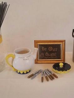 Be Our Guest | Wedding guestbook | teapot | Beauty and the Beast| Teapot made by Ahnalisa from DirtWorks Ceramics- https://www.etsy.com/shop/DirtWorksCeramic