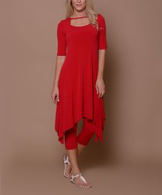 Look at this Lbisse Deep Red Cutout Sidetail Dress on #zulily today!