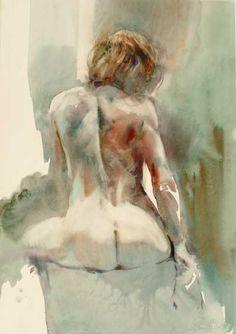 aquarelle / watercolor by Jean Louis Morelle Figure Sketching, Figure Drawing, Watercolor Portraits, Watercolor Paintings, Watercolours, Figure Painting, Painting & Drawing, Life Drawing, Erotic Art