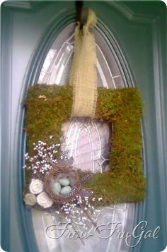 "DIY Spring Square Wreath made out of a pizza box and ""Great Stuff"" the expanding foam!!!!  TUTORIAL"