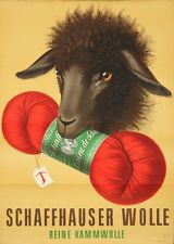 Original Vintage Poster Sheep Swiss Wool Hans Aeschbach 1946 Animal Yarn Black