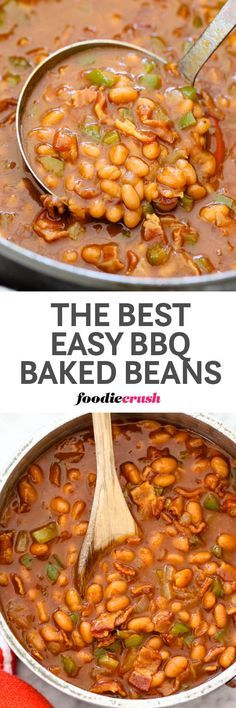 Easy BBQ Baked Beans with Bacon   Barbecue Baked Beans   bacon onion green pepper   Picnic beans   Potluck beans   foodiecrush.com