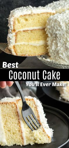 Coconut Cake This is the best coconut cake recipe I've ever made This easy coconut cake recipe is moist and delicious and uses fresh coconut! This traditional southern recipe is a delicious cocon is part of Coconut cake recipe - Recipe Using Fresh Coconut, Coconut Recipes, Coconut Cake Easy, Coconut Cakes, Three Layer Coconut Cake Recipe, Best Ever Coconut Cake Recipe, Easter Cake Coconut, Southern Coconut Cake Recipe, Lemon And Coconut Cake