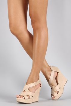 Leatherette Strappy Open Toe Wedge