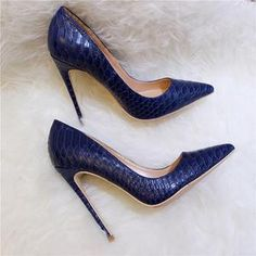 Women Snake Skin Embossed High Heel Shoes Italian Style Navy Blue Women shoes flats and comfortable Sexy High Heels, Navy Blue High Heels, Red High Heel Shoes, Frauen In High Heels, High Heel Pumps, Womens High Heels, Pumps Heels, Women's Shoes, Flat Shoes