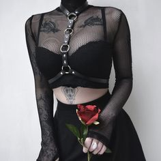 InstaHot Fishnet Turtleneck Mesh Crop Tops Women Sexy See Through Club Blouse Belt Choker Gothic Shirts Party Autumn Navel Plain Punk Outfits, Gothic Outfits, Mode Outfits, Grunge Outfits, Fashion Outfits, Womens Fashion, Gothic Dress, Fashion Boots, Girl Outfits