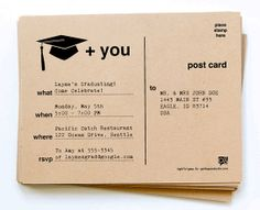 DIY Printable Graduation Invitation Postcards by girlingearstudio, $15.00