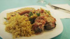 Zuid-Afrikaanse kip met peppadew en kurkumarijst