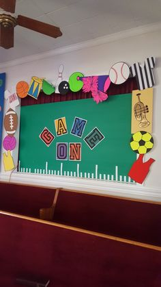 """Poster board cutouts, Allstar font from da font print out for """"Game On""""on cardstock, plastic tablecloth background stapled to foam insulation panel. Math Decorations, Class Decoration, General Music Classroom, Classroom Themes, Sports Wall, Plastic Tablecloth, Print Fonts, School Sports, School Themes"""