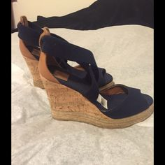 Tory Burch Navy/Cork Wedges 4inches high Super cute! Brand new in box, size 8 Tory Burch Shoes Wedges