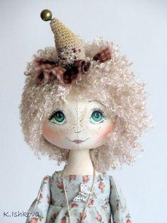Textile Cloth Art doll Sofia fairy beige cage by ArtDollsByKseniya