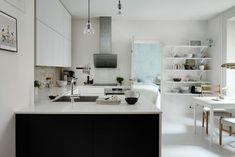 skandinavisches wohnen weiße wände boden kücheneinrichtung