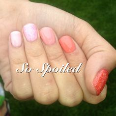 Bio Sculpture Gel Nails in a super short ombré. Glitter and pink to orange progression for casual summer wear. Love!