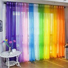 50 Beautiful Home Curtain Designs Ideas - Dekoration Rainbow Curtains, Rainbow Bedroom, Rainbow Room Kids, Rainbow Nursery, Colorful Curtains, Curtains For Closet Doors, Curtain For Door Window, Bay Window, Curtains For Kids