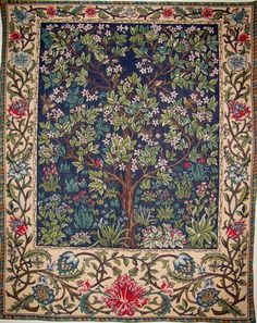 jacquard woven belgian gobelin wall tapestry The Tree of Life by William Morris wall hanging wall decor William Morris, Tapestry Weaving, Tapestry Wall Hanging, Wall Hangings, Tree Of Life Tapestry, Medieval Tapestry, Diy Carpet, Hall Carpet, Cheap Carpet