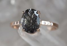 BLACK TOURMALINE IN QUARTZ ENGAGEMENT RING WITH PAVÉ DIAMONDS :: Alexis Russell