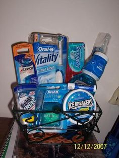 Gift basket for oral health - Dental Care Dental Quotes, Dental Humor, Dental Hygiene, Raffle Baskets, Gift Baskets, Oral Health, Dental Health, Dental Braces, Teeth Braces