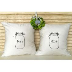 Mason Jar Pillow Set Mr & Mrs Burlap Pillows Inserts Incuded ($48) ❤ liked on Polyvore featuring home, home decor, throw pillows, decorative pillows, home & living, home décor, white, quote throw pillows, square pillow insert and rustic throw pillows