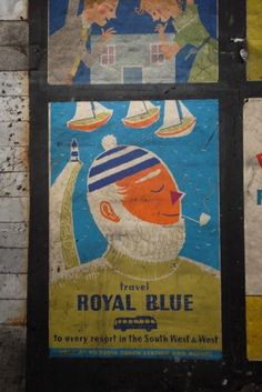 Note the 'smiling' eye, a hallmark of 1950s ad illustration. | Royal Blue coach services poster by Daphne Padden, c1959.