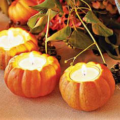 Who needs glass votives when you can have pumpkins votives!