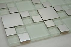 """Silver Stainless Steel Metal Square Tile 2""""x2"""", 1""""x1"""" + White Glass Tile 2""""x2"""", 1""""x1"""" Marble 'n things http://www.amazon.com/dp/B006MXAN9M/ref=cm_sw_r_pi_dp_-HYivb13VT9BD"""