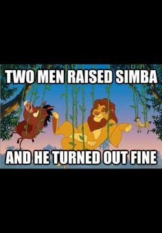 Two men raised Simba and he turned out fine.
