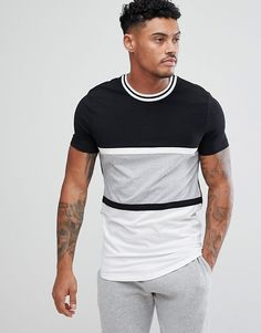 ASOS Muscle T-Shirt With Curved Hem In Monochrome Color Block With Tipping