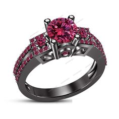 2 CT.TW Round-Cut Pink Sapphire Prong-Set Wedding Ring in 14K Black Gold Finish #aonedesigns