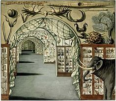 Perspective interior view of Sir Ashton Lever's the Holophusikon (or Holophusicon), also known as the Leverian Museumin, in Leicester Square, London March 30 1785. Watercolour by Sarah Stone.jpg