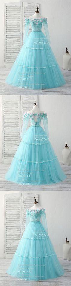 Unique tulle lace applique long prom dress, green evening dress