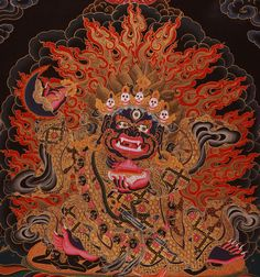 Mahakala the wrathful protector of the dharma in Tibetan Buddhism. His crown of skulls representing the transmutation of the 5 kleshas (negative afflictions) into the 5 wisdoms.