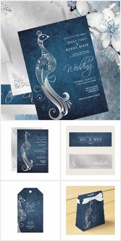 Silver Peacock Wedding Blue A beautiful, textured steel blue and gradient silver grey is the trendy color palette for this romantic wedding suite that features delicate silver peacocks and ornamental decorations. Wedding Suits, Wedding Blue, Romantic Wedding Stationery, Peacock Wedding, Trendy Colors, Friend Wedding, Bridal Shower Invitations, Party Supplies, Peacocks