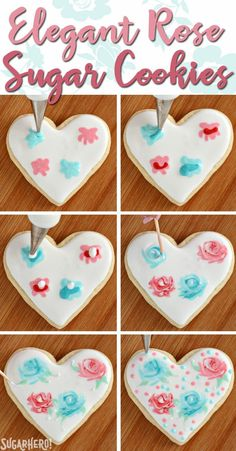 Valentine's Day Sugar Cookies - classic sugar cookies decorated with royal icing. - Valentine's Day Sugar Cookies - classic sugar cookies decorated with royal icing. Valentine's Day Sugar Cookies, Sugar Cookie Royal Icing, Cookie Frosting, Fancy Cookies, Iced Cookies, Cupcake Cookies, Decorated Sugar Cookies, Heart Cookies, Summer Cookies