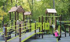 The inclusive playground in Gibson Park, Elmira was the inspiration of Kate's Kause.  The park features both junior and senior playstructures and is a great example of a community coming together to create a playspace for children of all abilities.  Playground visitors can spin, slide, swing and enjoy many other sensory experiences.