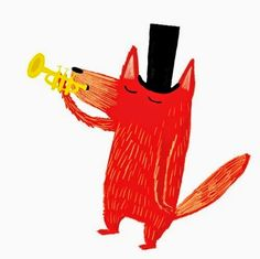 nadia shireen - fox with trumpet Children's Book Illustration, Graphic Design Illustration, Watercolor Illustration, Watercolor Painting, Graphic Art, Kids Room Paint, Cute Art, Character Design, Tutu