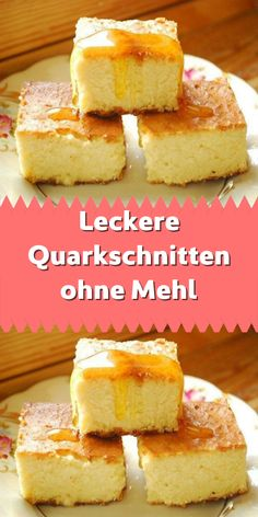 Leckere Quarkschnitten ohne Mehl Sometimes it is necessary to reward your body with dishes without flour. You feel much better if you don't eat wheat flour dishes all the time. Easy Cookie Recipes, Baking Recipes, Cake Recipes, Dessert Recipes, Low Carb Desserts, Healthy Desserts, Low Carb Recipes, Sausage Recipes For Dinner, Desserts Sains