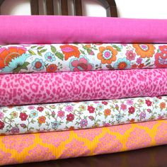 Bright Pink Orange and Aqua Floral Fabric, Divine By Rosemarie Lavin for Windham Fabrics, 1 Yard Bundle, 5 Prints, 5 Yards Total. $33.75, via Etsy.