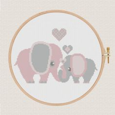 cross stitch pattern elephants with hearts от AnimalsCrossStitch