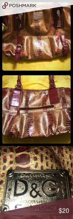Satchel like handbag, not authentic to brand, nice D&G imitation handbag, not authentic to brand but very nice, has substantial silver hardware, red and gold vinyl material, reptile like, had some puling and handles and an corner as seen in last 2 pics, has lots of use left in it, 🚬🐱🏡💖will accept reasonable offers💖 Bags Satchels