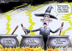 """Judy Stines @jstines3  ·  Nov 10 Obama says Congress is on a """"witch hunt.""""  Well, SOMEBODY is brewing up these scandals!! #PJNET  #TCOT"""