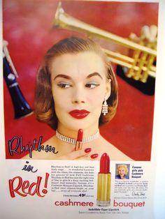 Retro Cashmere Bouquet Red Lipstick Magazine by mamiezvintage, $8.95