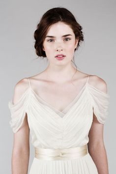 Romantic_silk_chiffon_wedding_dress_with_off_the_shoulder_sleeves.full: